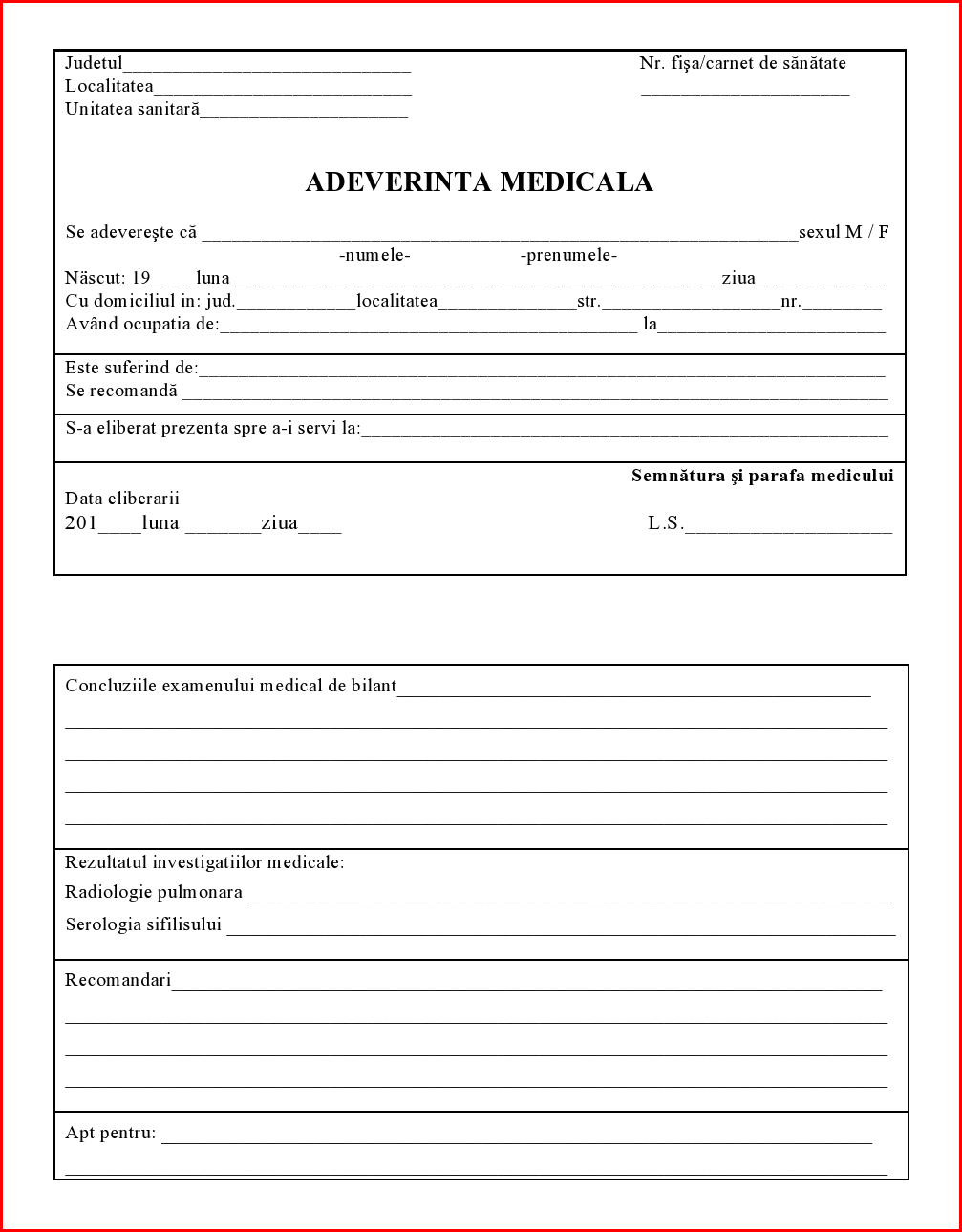 adeverinta medicala online