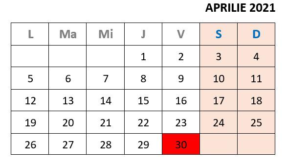 calendar zile libere aprilie 2021