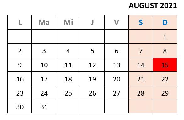 calendar zile libere august 2021