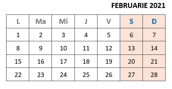 calendar zile libere februarie 2021