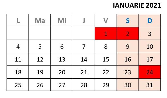 calendar zile libere ianuarie 2021