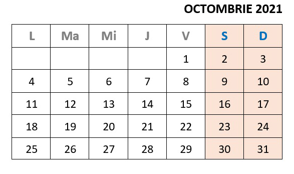 calendar zile libere in octombrie 2021
