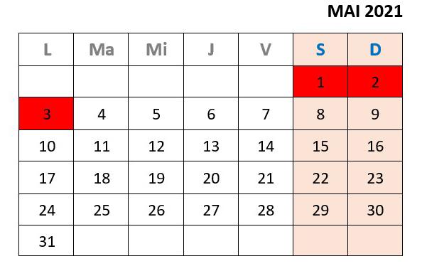 calendar zile libere mai 2021