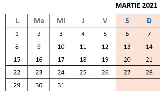 calendar zile libere martie 2021