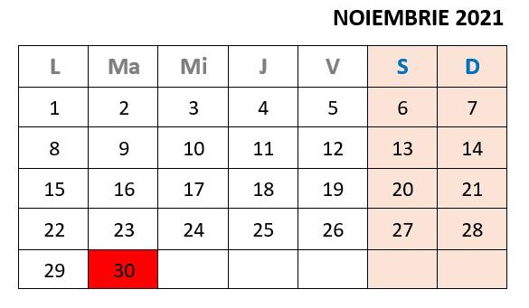 calendar zile libere noiembrie 2021