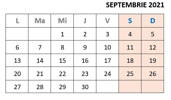 calendar zile libere septembrie 2021