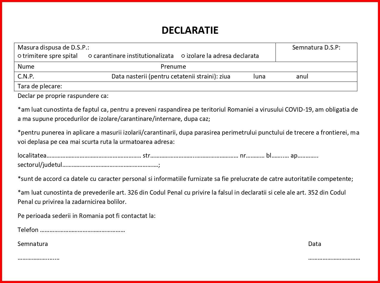 Declaratie triaj DSP la intrarea in tara